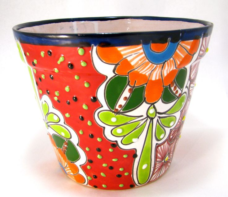 """TALAVERA FLOWER POT PLANTER MEASURES: 6.5"""" TALL 8""""WIDE HAND PAINTED MADE IN MEXICO (SIZE AND COLOR MY VARY) ITEM THAT YOU SEE IS THE ONE YOU WILL RECEIVE SIZE AND COLOR MAY VARY COLORS MIGHT BE BRIGHT"""