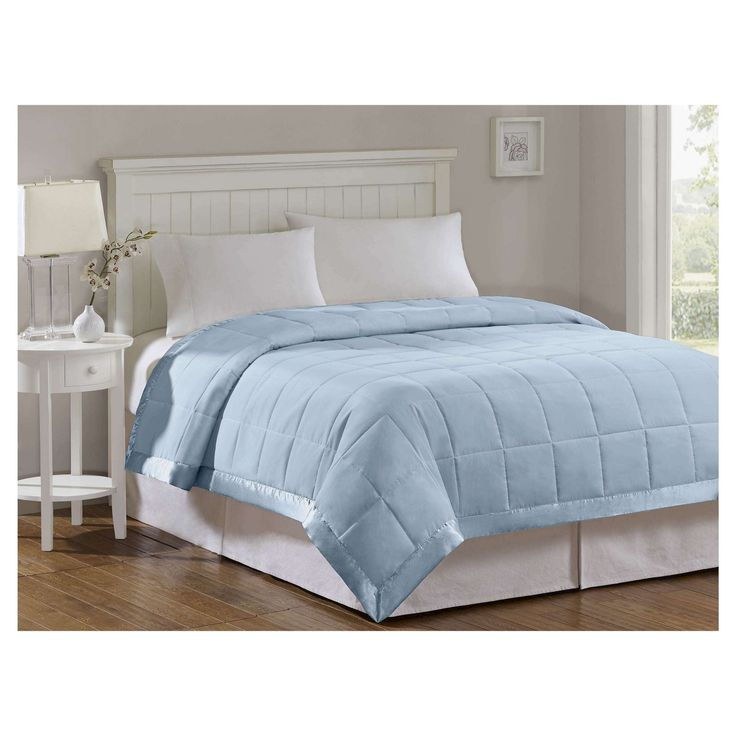 Bed Blanket Prospect Microfiber Down Alternative with 3M Scotchgard Finish (Full/Queen) Blue
