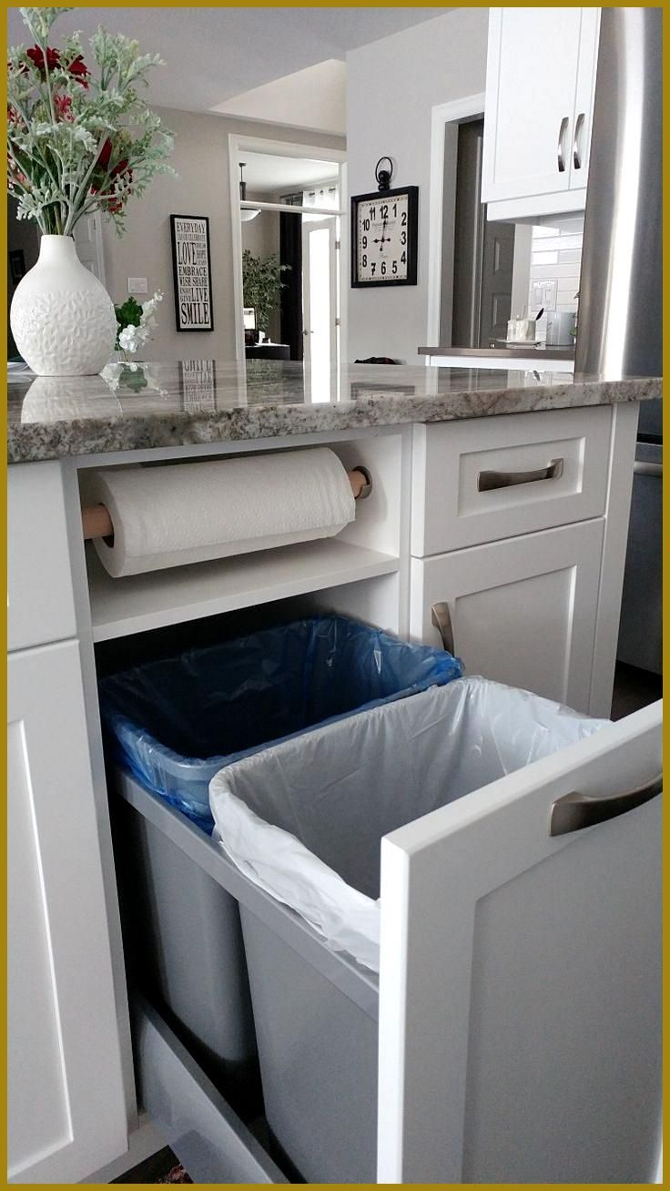 love this kitchen storage idea garbage recycling and paper towels neatly tucked away kitchen on kitchen organization recycling id=52643