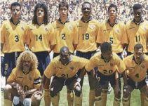 "La Selección Colombia de 1994 Arriba (Izq-Der): Mendoza, Leonel Álvarez, Andrés Escobar, Freddy Rincón, ""Carepa"" Gaviria, Tren Valencia, Córdoba. Abajo (Izq-Der): ""Pibe"" Valderrama, Asprilla, Wilson Pérez y Chonto Herrera."