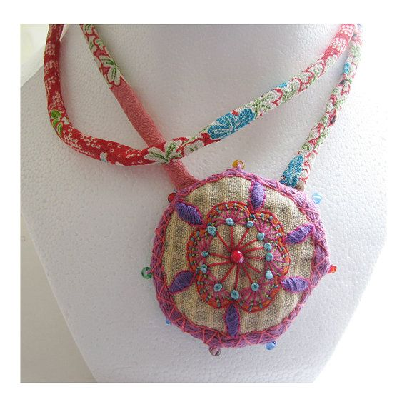 RESERVED Asian Influened Hand Embroidered Necklace