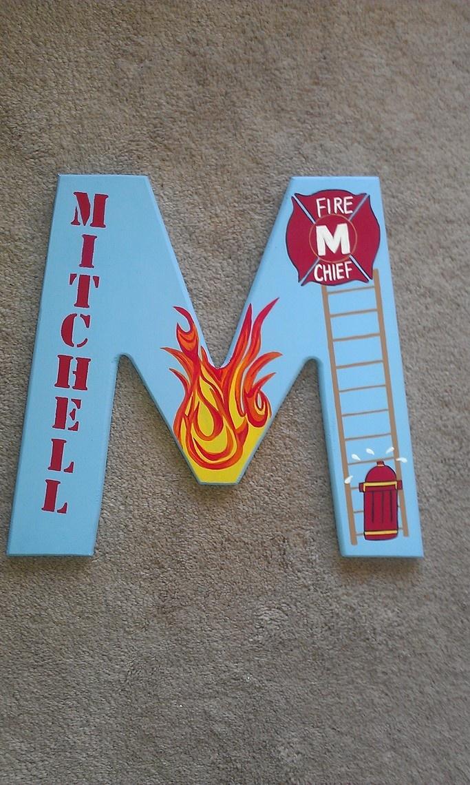 Fireman hand painted nursery wall letter baby boy wall lart decor   20 076 best firetrucks firemen images on Pinterest   Firetruck  Fire  . Firefighter Room Decorations. Home Design Ideas