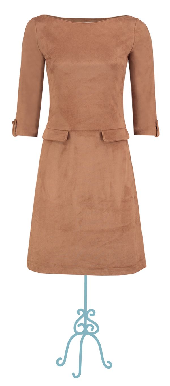 Dress princesse suedine camel brown - Collectie