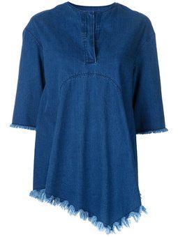 джинсовая блузка с бахромой