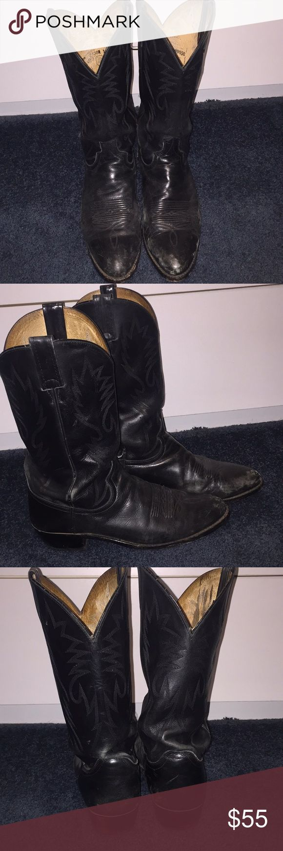 Dan Post men's black leather western boots Owned by one cowboy who has danced many a two step, traveling cha-cha and horseshoe in these classic favorites. Get these broken in western boots cheap and spend the savings getting them resoled for your cowboy up nights! Dan Post Shoes Cowboy & Western Boots