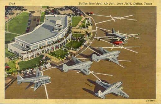 Vintage postcard dallas love field airport dallas texas by coltera