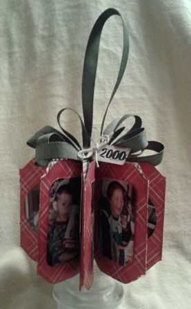 """Designed my scrapbook """"Christmas Memories Ornament"""" using the new Stampin' Up Envelope Punch Board.  I really love how it turned out."""