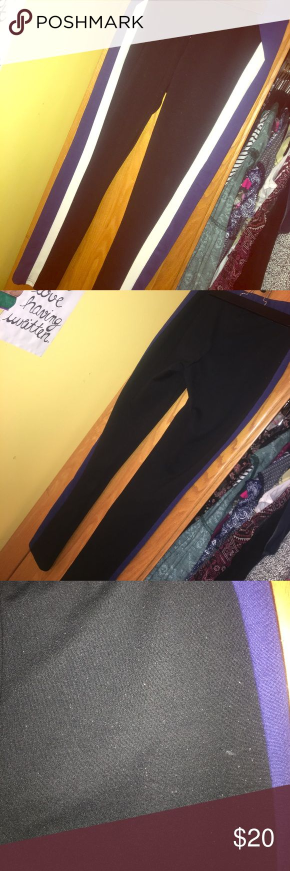 Thick black leggings with white and blue stripes These leggings are size medium from Romeo and Juliet. Very thick, won't be see through if you bend over. They have some pilling. Romeo & Juliet Couture Pants Leggings