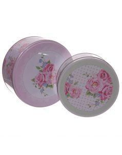 2 metalowe okrągłe puszki - Róże Laury