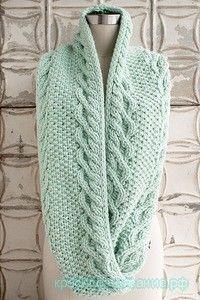 Вязание шарфа трубы спицами. Описание и схема снуда. Как связать шарф трубу спицами. Картинки увеличиваются при нажатии. …