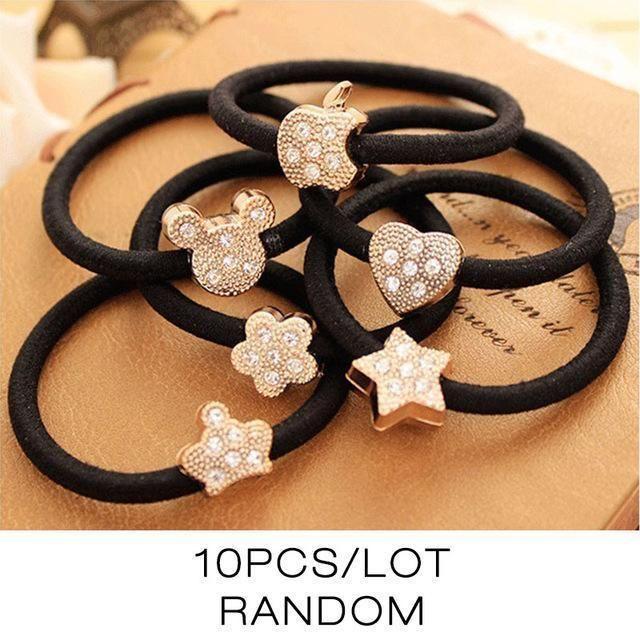 10 Pcs New Korean Women Hair Accessories Cute Black Elastic Hair Bands Girl Hairband Hair