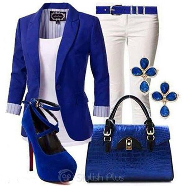 Royal blue and white