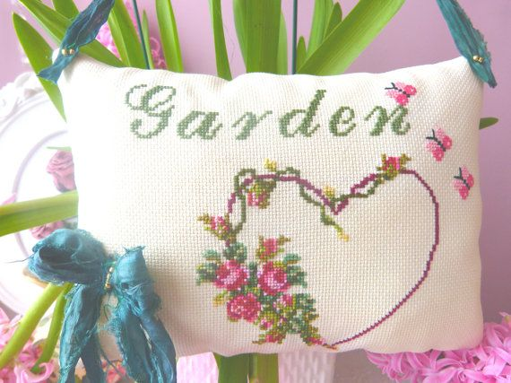Pillow Cross stitch GARDEN decoration by CrossStitchElizabeth