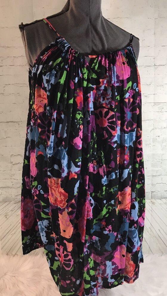 Thakoon For Target Dress Summer Strappy Black Pink Blue Colorful Floral Medium #ThakoonforTarget #BeachDress #SummerBeach
