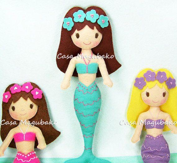 Mermaid Doll Felt Pattern #felt, #feltpattern, #sewing, #stitching, #mermaid, #doll, #fieltro, #feltro, #casamagubako