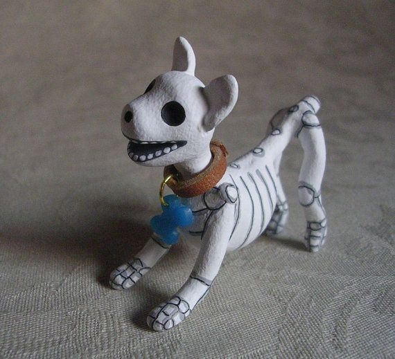 Day of the Dead Art Miniature Dog Skeleton by ClayLindo on Etsy (Art & Collectibles, Sculpture, dia de los muertos, unique, rockabilly, creepy, weird, polymer clay, sculpture, handmade ornament, cute, doll, miniature, pet, skellie)