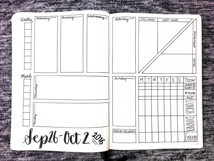 Bullet Journal Templates | Weekly Spread: Sep 26 - Oct 2, 2016 (Free Version)