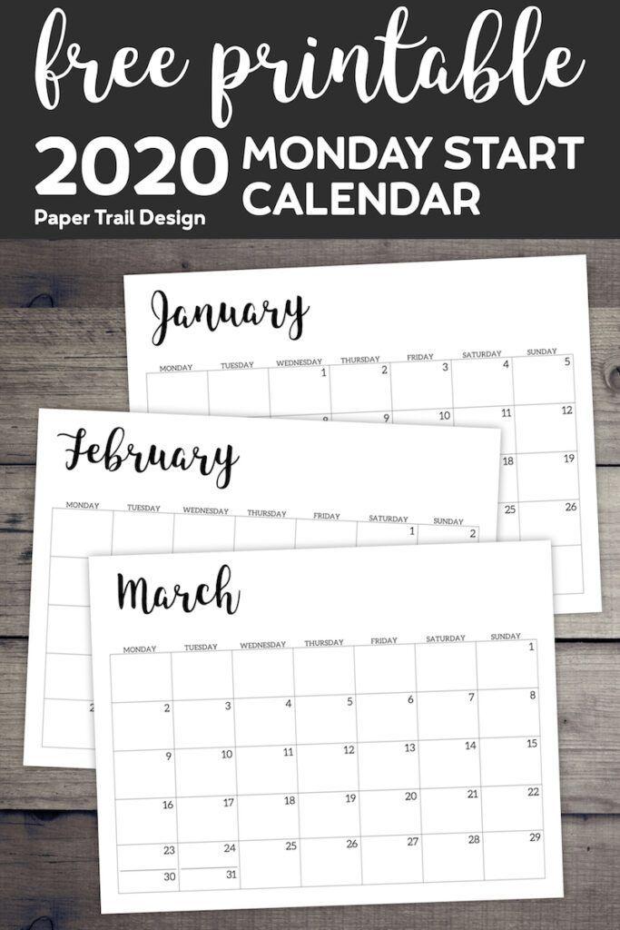 Free Printable 2020 Calendar - Monday Start Monthly Calendar