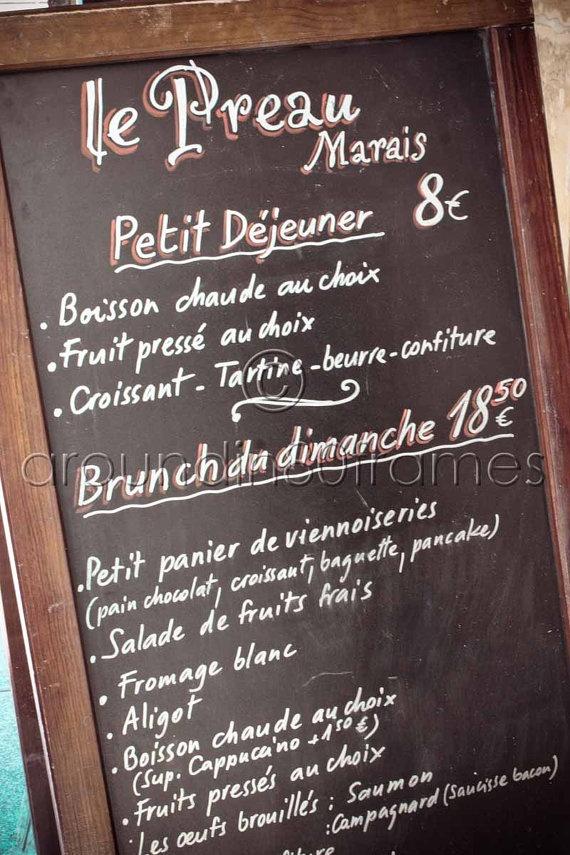 Parisian Cafe Menu Paris France  8x10 Print by aroundin80frames, $25.00