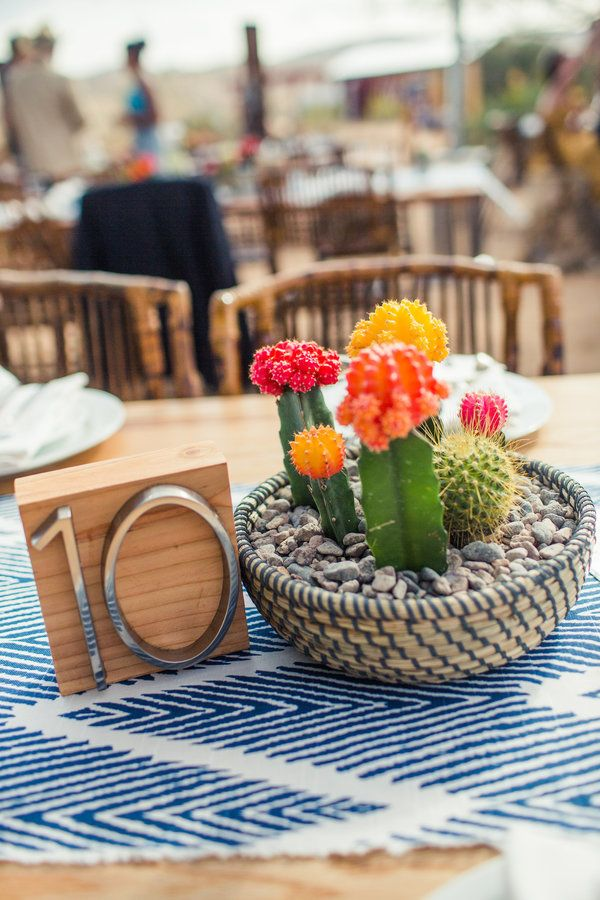 Cactus centerpieces in bright colors = desert wedding vibes | Amelia Lyon Photography