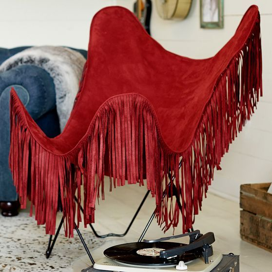 Junk Gypsy Bedroom Collection: Western Meets Boho. New red fringe butterfly chair from the collection. | Stylish Western Home Decorating