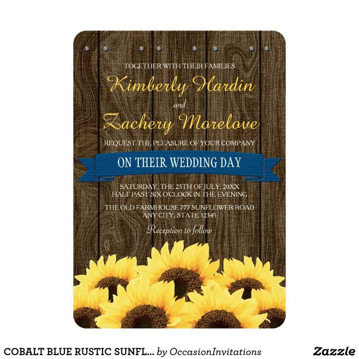 COBALT BLUE RUSTIC #SUNFLOWERWEDDINGINVITATION #weddinginvitations  #rusticweddinginvitations  #countryweddinginvitations