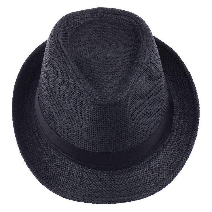 Black Cool Fedora Trilby Gangster Women Men Hat Summer Beach Sun Straw Hats Cap