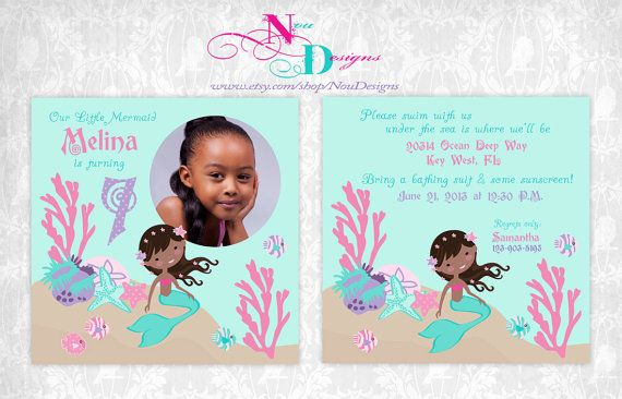 Little Mermaid Theme Birthday Invitation and Thank by NouDesigns, $15.00