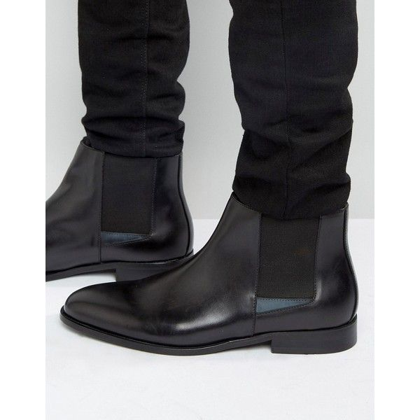 Aldo Markin Chelsea Boots In Black Leather ($105) ❤ liked on Polyvore featuring men's fashion, men's shoes, men's boots, black, mens black chelsea boots, aldo mens boots, mens slip on shoes, men's pull on boots and mens black shoes