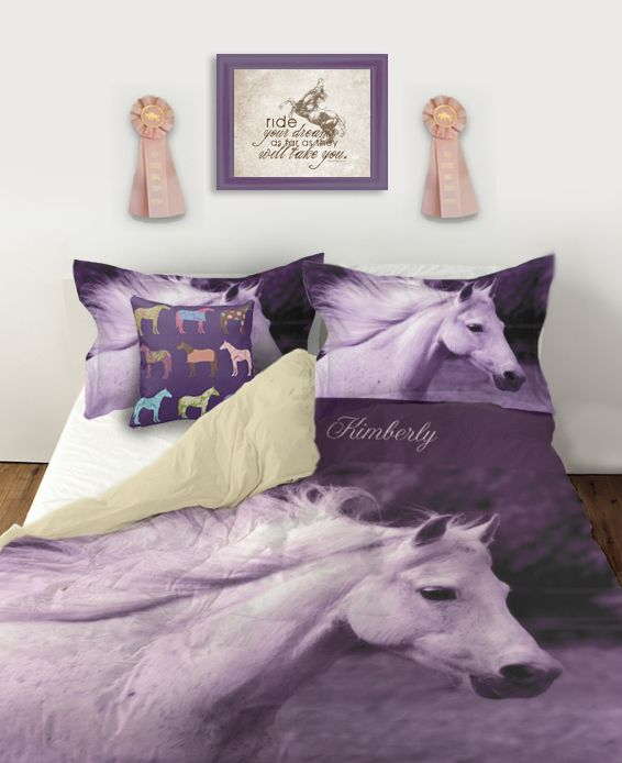 Purple Horse Head Personalized Duvet Bedding Cover - The Painting Pony