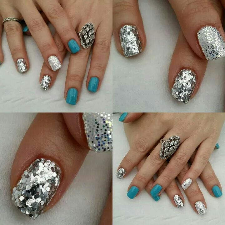 Sparkly glitter disco ball and blue silver & white nails for my hols and winter!