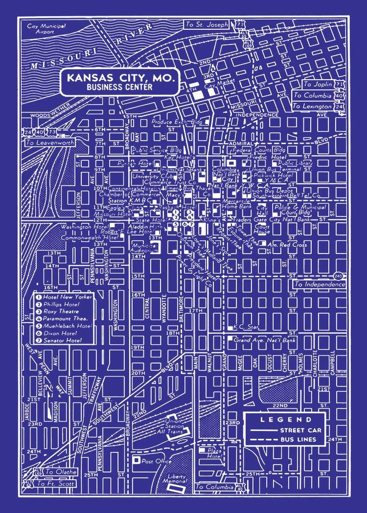 1949 vintage map of downtown kansas city blueprint map Print blueprints