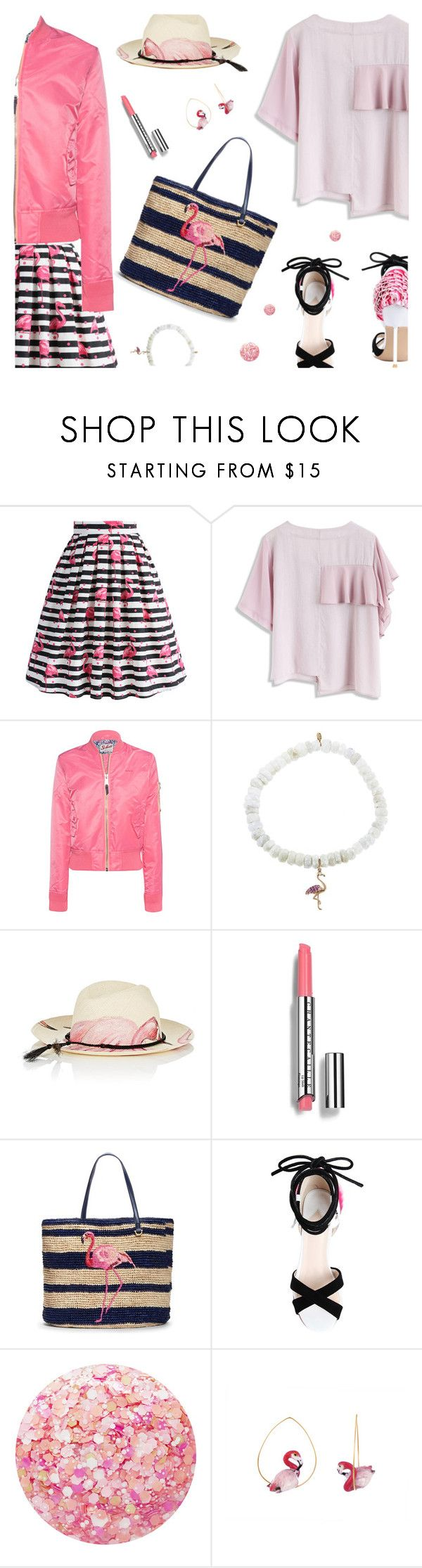 """""""Flamingo Style"""" by annbaker ❤ liked on Polyvore featuring Chicwish, Schott NYC, Sydney Evan, Ibo-Maraca, Chantecaille, Draper James, Nails Inc. and Nach Bijoux"""