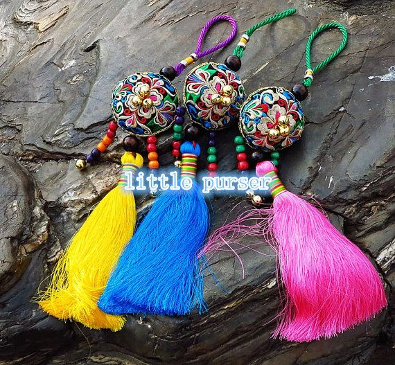 Charm Zip Pull Bag Accessories Pom Pom Curtain Holder Decoration Handmade by HMONG Handmade Shaman Bells