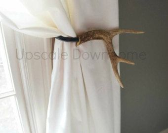 Antler Curtain Tie Back Holdback Cabin Decor Primitive Natural Rustic Woodland Size