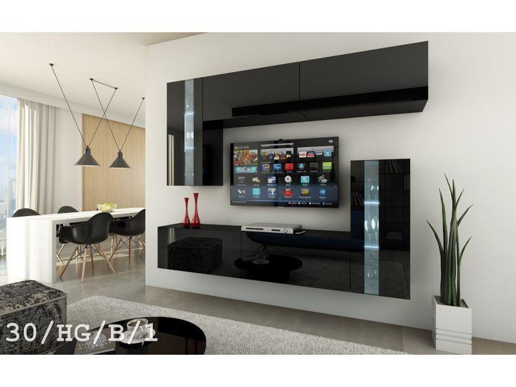 Meblościanka SYMETRIC C30 połysk    #meble #furniture #madeinpoland #polskiemeble #design #LED #wallunit #tvset #asymetric #asymetria #sklepmeble #black