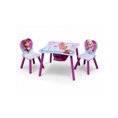 disney frozen elsa anna wooden table chair set w storage kids
