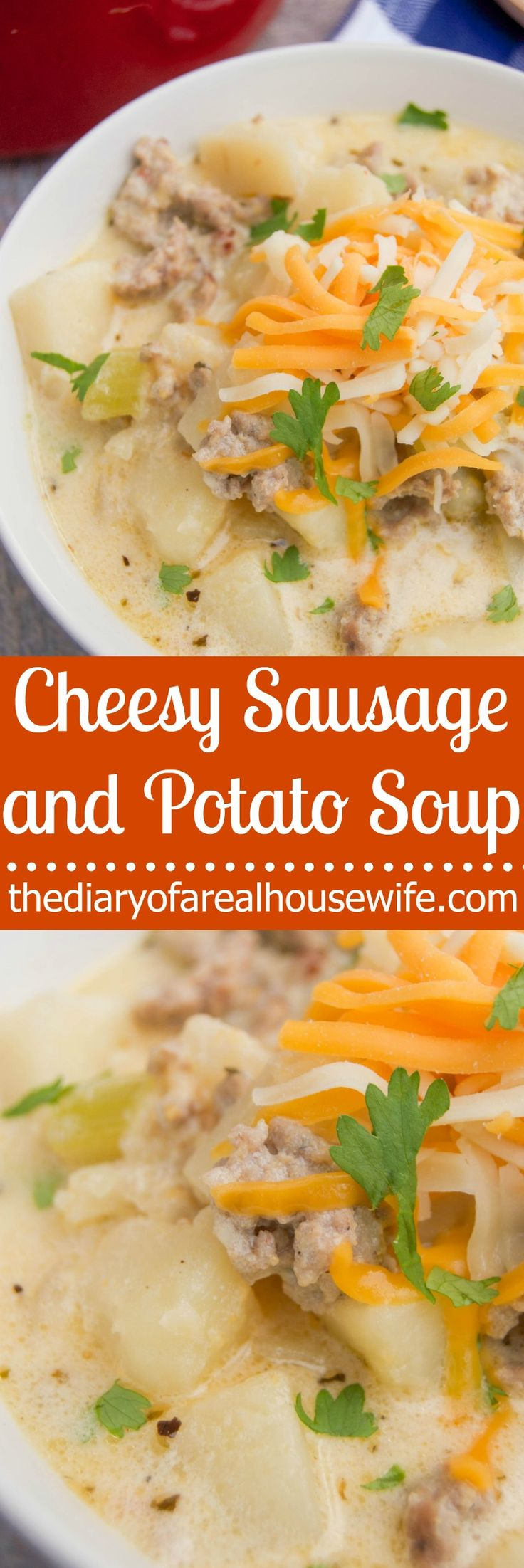 Cheesy Sausage and Potato Soup. I LOVE this soup recipe. the perfect recipe to warm you up this winter.