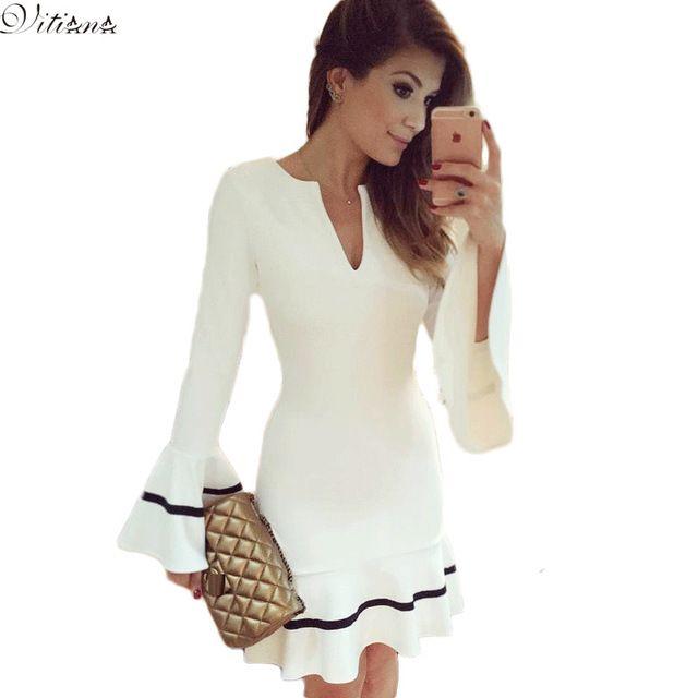 Nuevo vestido de fiesta 2016 tipo túnica de sirena elegante y a la moda para mujeres, vestido Bodycon sexy con ajuste de lápiz y mangas largas, mini vestido blanco envíos gratuitos en todo el mundo