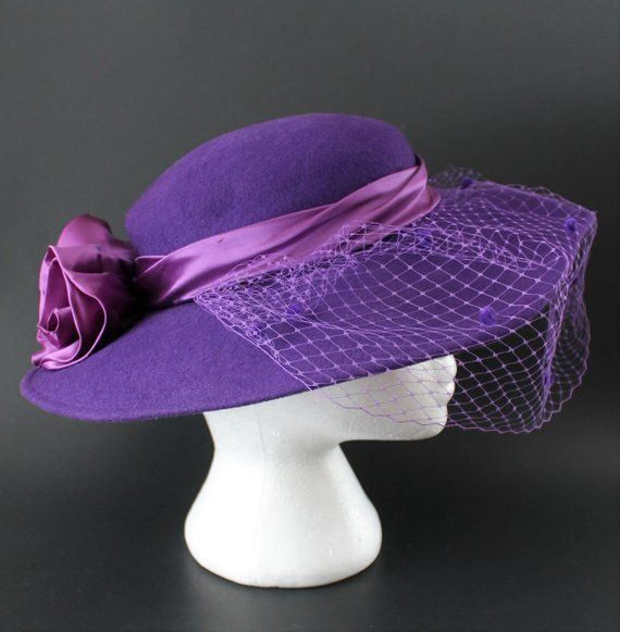 d530eb7c505199 Vintage 1980s Purple Hat with Veil by Mr Charles Michael Howard, Wide  Brimmed Formal Wool Satin Hat Band Rosettes