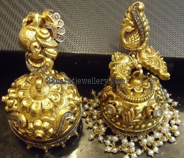 Jewellery Designs: Gold Jumkees by Premraj Jewellers