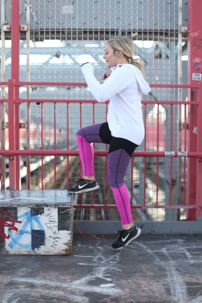 Making a Run for it   Leggings jacket & sports bra: c/o Old Navy  This month I partnered with Old Navy Active to talk resolutions and fitness challenges in the New Year. I'vealways been a big fan of their activewearand this look is perfect for running headfirst into 2017. We had a few days of exceptionally warm weather so I paired these adorablecolorblock leggings with ahigh impact sports bra and white go-warmperformancejacket. The look was perfect for my 2017 challenge workout - running…