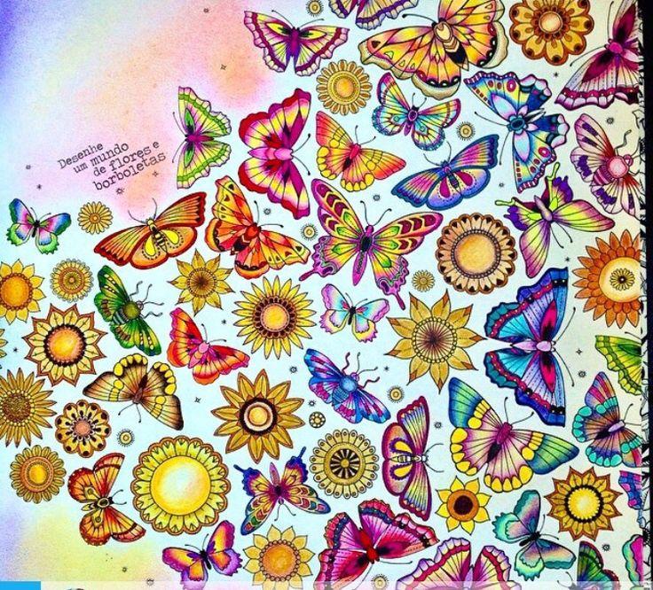 Butterflies Double Page Jardim Secreto Borboletas Pgina Dupla Johanna Basford Coloring BooksAdult ColoringSecret GardensDrawJohanna