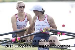Victoria Thornley (back) and Katherine Grainger (front) at the 2015 European Rowing Championships in Lucerne