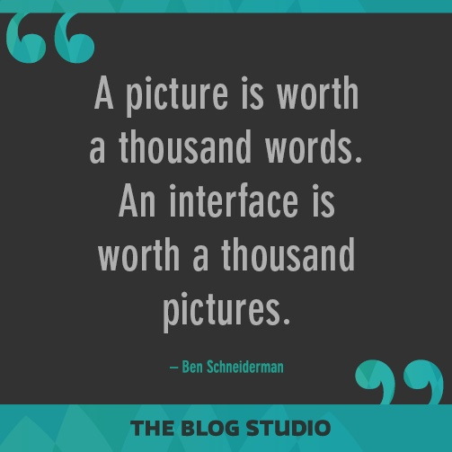 A picture is worth a thousand words. An interface is worth a thousand pictures. – Ben Schneiderman
