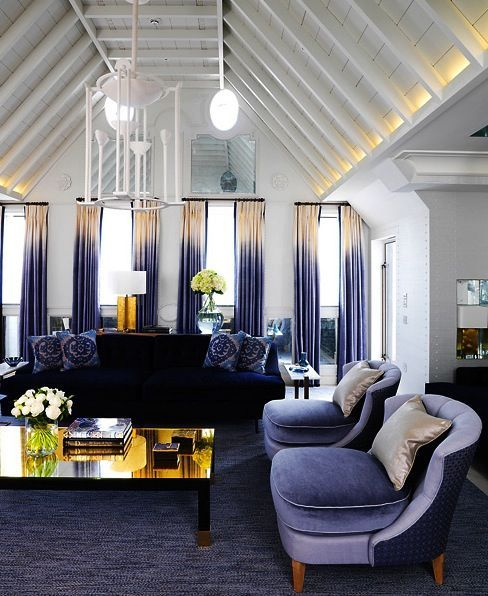True blue, ombre blue drapery, blue chairs, blue room, blue rug, Interior Design by David Collins