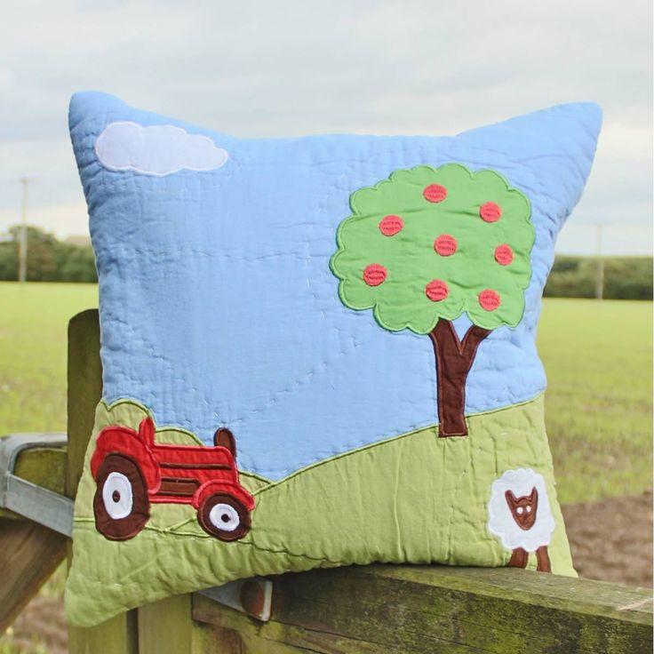 images of farm cushions | Red Tractor Cushion | Childrens Farm Cushion | Farm Patchwork Cushion