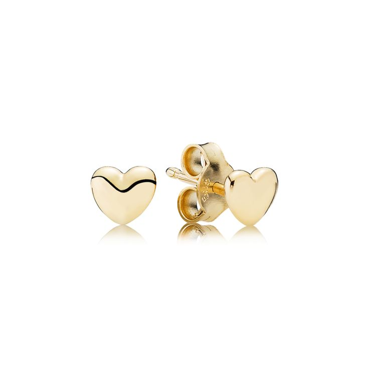 PANDORA's miniature heart-shaped earring studs in 14K gold have a classic look, making them a timeless accessory for women of all ages. Give these earrings to symbolize feelings of love, care and appreciation. #PANDORAearrings