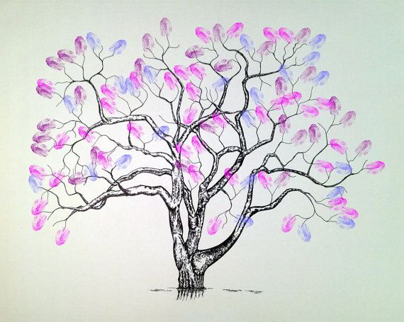 Wedding Tree:  This is a great way to have a decorative piece from your special day. Guests simply stamp their thumbprint wherever they like. Some couples choose to have guests sign by their print. It's also great for family reunions!
