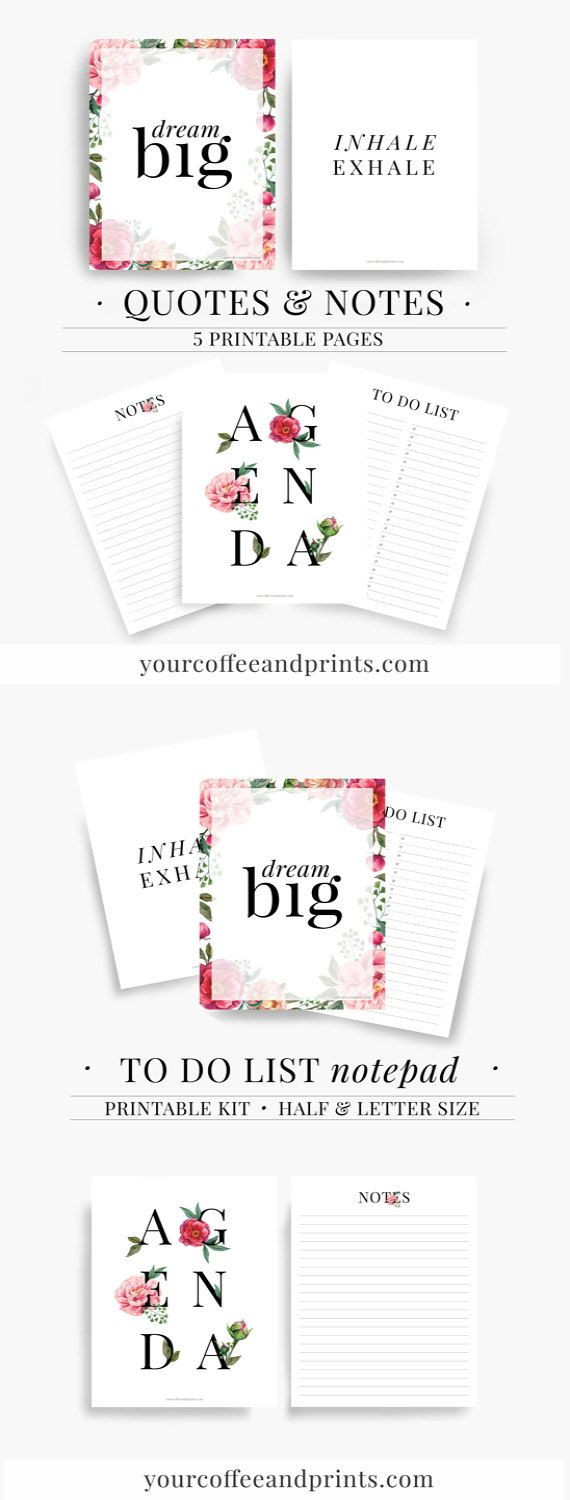 Agenda 2017, Daily Planner, Travel journal, Writing journal, Notes page kit, Printable Planner, Journal, Agenda inserts, Printable quotes
